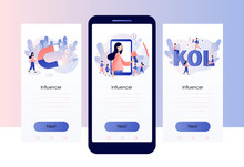 Social Media Influencer. Key Opinion Leader. Influencer Marketing. Screen Template For Mobile Smart Phone. Modern Flat Cartoon Style. Vector Illustration
