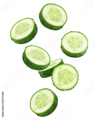 Stampa su Tela Falling cucumber slice isolated on white background, clipping path, full depth o