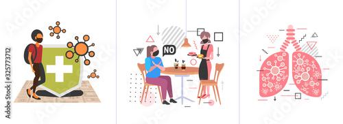 Obraz set epidemic MERS-CoV coronavirus infection wuhan 2019-nCoV pandemic health risk concepts collection horizontal full length vector illustration - fototapety do salonu
