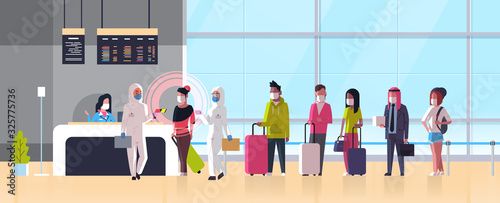 Obraz epidemic MERS-CoV medical worker in hazmat suit checking passengers temperature at airport terminal coronavirus infection wuhan 2019-nCoV pandemic health risk concept full length horizontal vector - fototapety do salonu