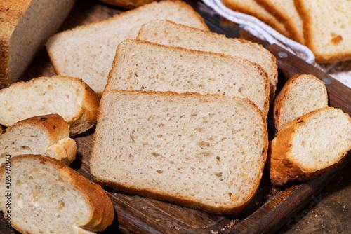 Photo assortment of white fresh bread, closeup