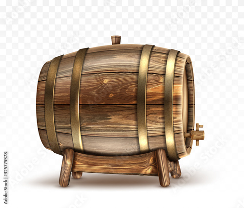 Wooden barrel for wine, beer or whiskey. Realistic cask from oak wood with copper or iron rings, stopper and tap, keg for rum or cognac isolated on transparent background, realistic 3d vector clipart Fototapete