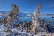 Landscape Of Snowy, Winter Shoreline Of  Mono Lake With Tufa Formations, California, USA