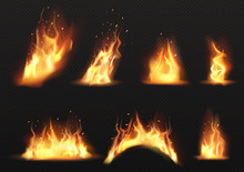Realistic Fire Flames Set Isol...