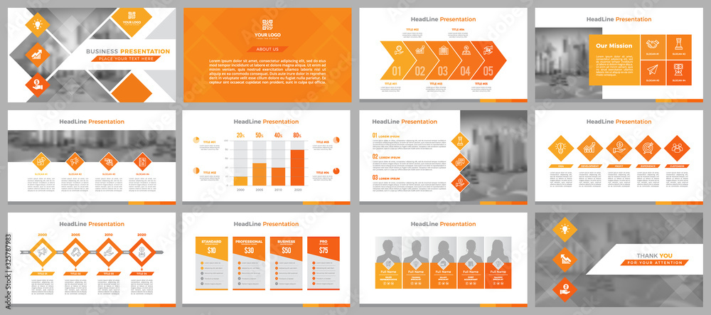 Fototapeta Presentation templates, corporate. Elements of infographics for presentation templates. Annual report, book cover, brochure, layout, leaflet layout template design.