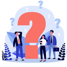 Confused Businesspeople Asking Questions. Puzzled Cartoon Characters Searching Answers And Problem Solution Near Big Question Mark. Vector Illustration Thinking, Help, Assistance, Trouble For Concept