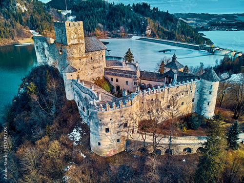 Beautiful panoramic aerial drone view to the Niedzica Castle also known as Dunajec Castle, located in the southernmost part of Poland in Niedzica, Nowy Targ County, Dunajec River, Lake Czorsztyn - fototapety na wymiar