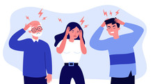 Stressed People Suffering From Headache, Holding Head. Sad Men And Woman Tired Of Their Migraine. Vector Illustration For Pain, Depression, Stress, Healthcare, Sickness, Disease Concept