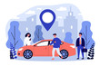 Commuters sharing car in city. People searching vehicle with location pointer. Vector illustration for transport rent, transfer, automobile, travel concept