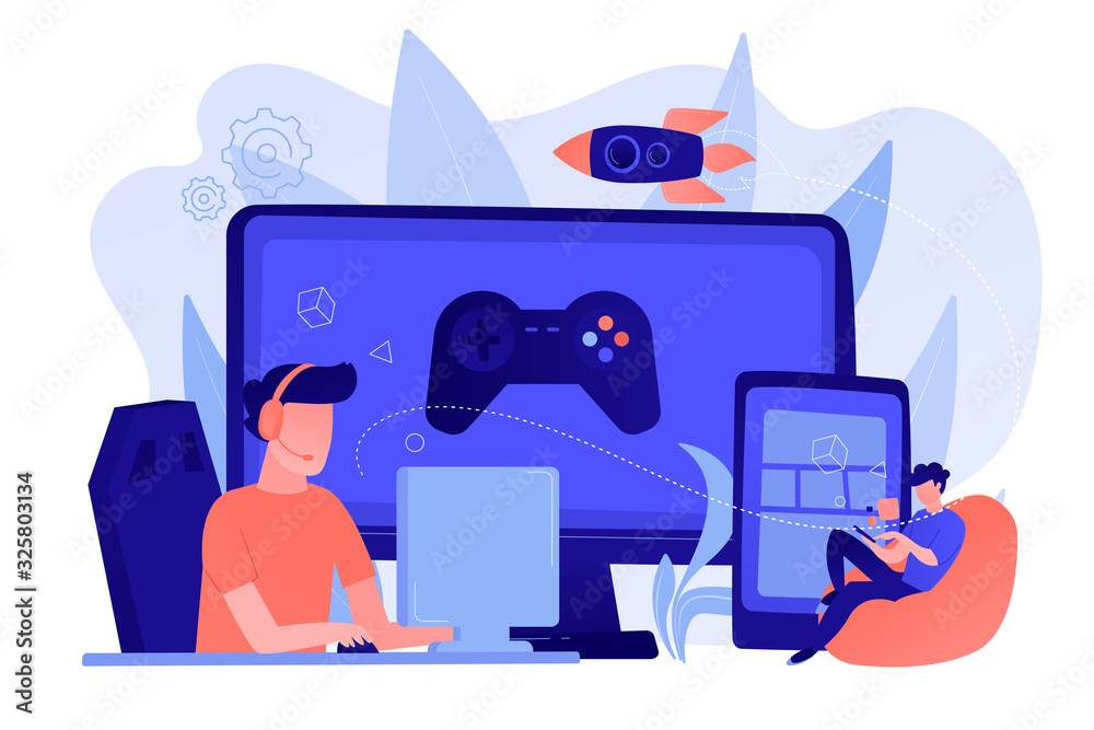 Fototapeta Gamers play video game on different hardware platforms. Cross-platform play, cross-play and cross-platform gaming concept on white background. Pinkish coral bluevector isolated illustration