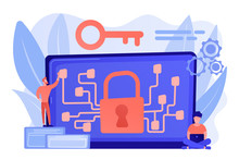 Cryptographic Officer And System Administrator Create Algorithm Code For Key Owner Of Blockchain. Cryptography And Encryption Algorithm Concept. Pinkish Coral Bluevector Isolated Illustration