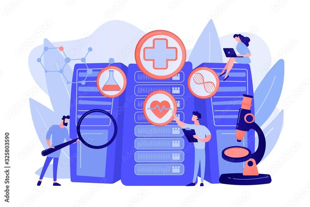 Fototapeta Doctors and personalized prescriptive analytics. Big data healthcare, personalized medicine, big data patient care, predictive analytics concept. Pinkish coral bluevector isolated illustration
