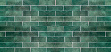 Green Ceramic Tile Background. Old Vintage Ceramic Tiles In Green To Decorate The Kitchen Or Bathroom
