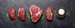 canvas print picture - Variety of raw beef steaks