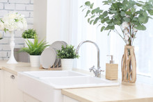 Kitchen Area With Artificial Flowers In Flower Pots, Plates On A Wooden Stand, A Large Sink With A Tap..