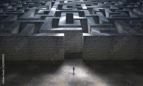 Fotografie, Obraz Small man entering a huge mysterious maze. 3d rendering