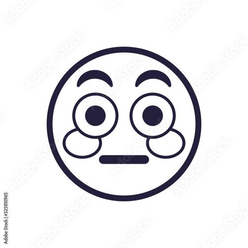 Obraz na plátně Blushing emoji face flat style icon vector design