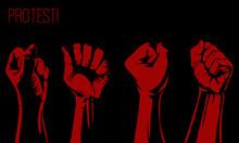 Raised Fist Held,protest Poste...