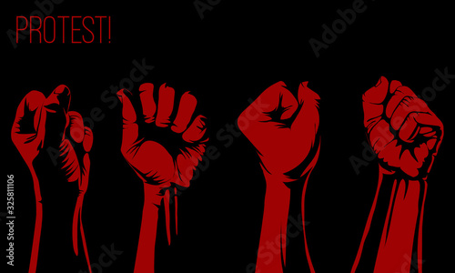 Raised fist held,protest poster, raised fist held in protest Tablou Canvas