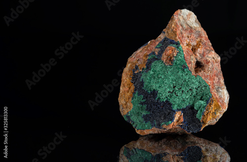 Brushes of dark blue azurite crystals with bright green malachite from Morocco Wallpaper Mural
