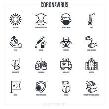Coronavirus Thin Line Icons Se...
