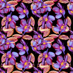 Purple flowers seamlesss pattern, watercolor illustration.