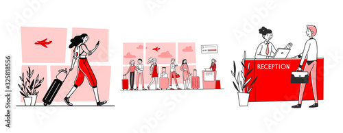 Obraz Tourists in airport set. Passengers wheeling luggage, queue, reception. Flat vector illustrations. Travel, vacation, check in to flight concept for banner, website design or landing web page - fototapety do salonu