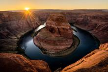 Famous Horseshoe Bend On Colorado River At Sunset, Page, Arizona, USA