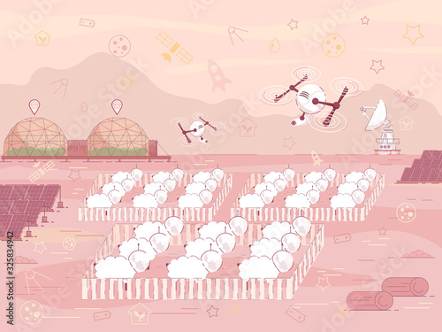 Prompt Banner Sheep Farm on Colonized Planet. Autonomy Colony Allows Many Times to Increase Growth Rate Settlement. Robotic Drones Fly over Corrals Sheep Cartoon. Vector Illustration.