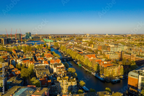 Amsterdam skyline in historical area, Amsterdam, Netherlands Wallpaper Mural