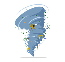 Twisting Tornado Vector Flat Illustration. Natural Disaster, Hurricane Or Storm, Cataclysm And Catastrophe.