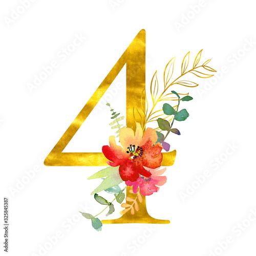 Fototapeta Elegant summer decorated floral numbers. Golden digit 4 with a watercolor bouquet. Element for design obraz na płótnie