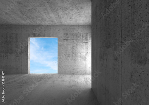 Empty doorway with cloudy sky behind. Abstract 3 d Canvas Print