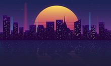 Retro Futuristic Night City Co...