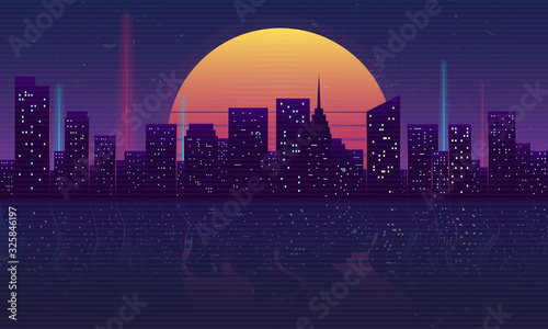 Retro futuristic night city concept. Cityscape isolated on a dark background with reflection in water, retro sun and vintage grunge textures. Vaporwave, Cyberpunk background. Vector illustration