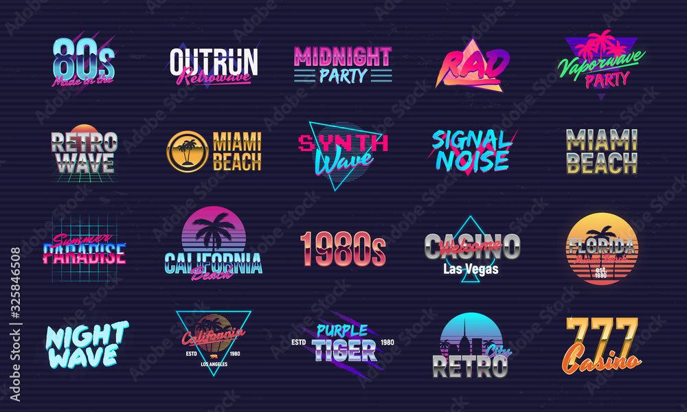 Fototapeta Vector set of signs and logos in Retrowave style. Retro 80's logos set for Night club, music album, party invitation designs. Print for t-shirt, tee. 20 colorful neon logo designs.