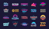 Vector set of signs and logos in Retrowave style. Retro 80's logos set for Night club, music album, party invitation designs. Print for t-shirt, tee. 20 colorful neon logo designs.