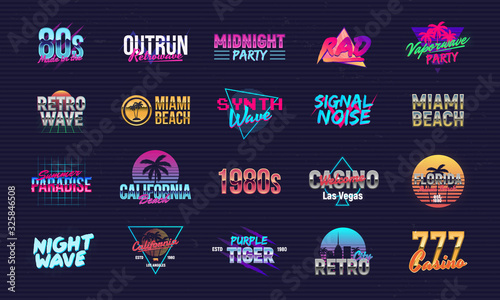 Fotomural Vector set of signs and logos in Retrowave style