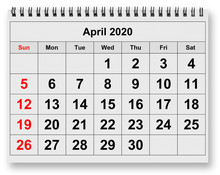 Monthly Calendar - April 2020