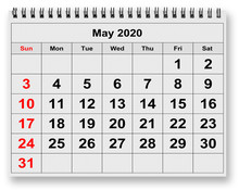 Monthly Calendar - May 2020