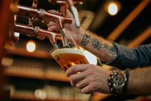 Tattooed Caucasian Barman Pouring Beer While Standing In Pub. Selective Focus On Hand.