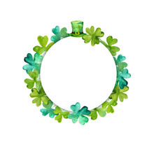 Saint Patrick Wreath - Trefoil Leaves, Green Hat. Watercolor Round Frame