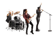 Rock Music Band Performing Wit...