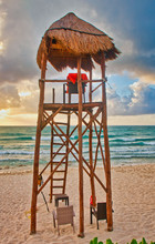 A Lifeguard Stand On An Empty ...