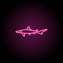 Smooth Dogfish Neon Icon. Simp...