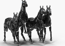 Black Mechanical Horse In Move...