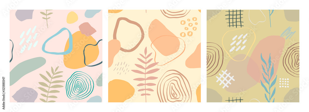 Fototapeta Vector abstract seamless pattern with scribble textures and doodle floral elements