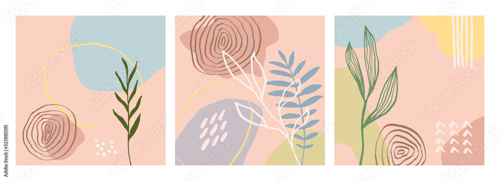 Fototapeta Modern artistic cards design template. Set of abstract background designs - summer sale, social media promotional content. Colorful trendy shapes