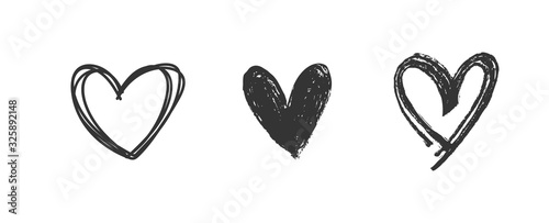 Heart doodles set. Hand drawn hearts collection. Romance and love illustrations.
