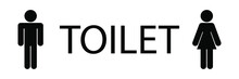 Wc, Toilet, Restroom For Men, Women, Male, Female Sign Logo Black Silhouette With Big Toilet Text